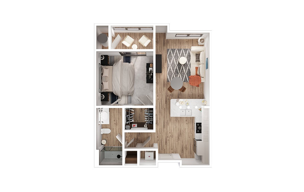A1 - 1 bedroom floorplan layout with 1 bath and 689 to 700 square feet. (3D)