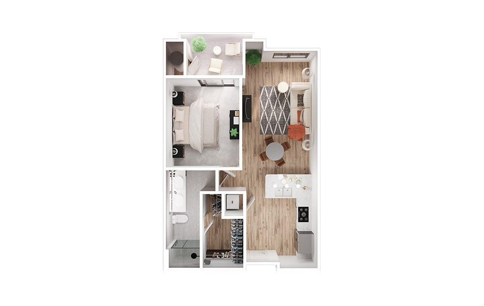 A2 - 1 bedroom floorplan layout with 1 bath and 844 to 856 square feet. (3D)