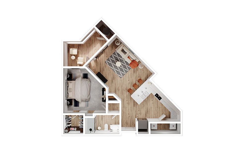 A3 - 1 bedroom floorplan layout with 1 bath and 879 square feet. (3D)