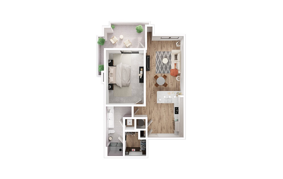 A4 - 1 bedroom floorplan layout with 1 bath and 843 to 849 square feet. (3D)