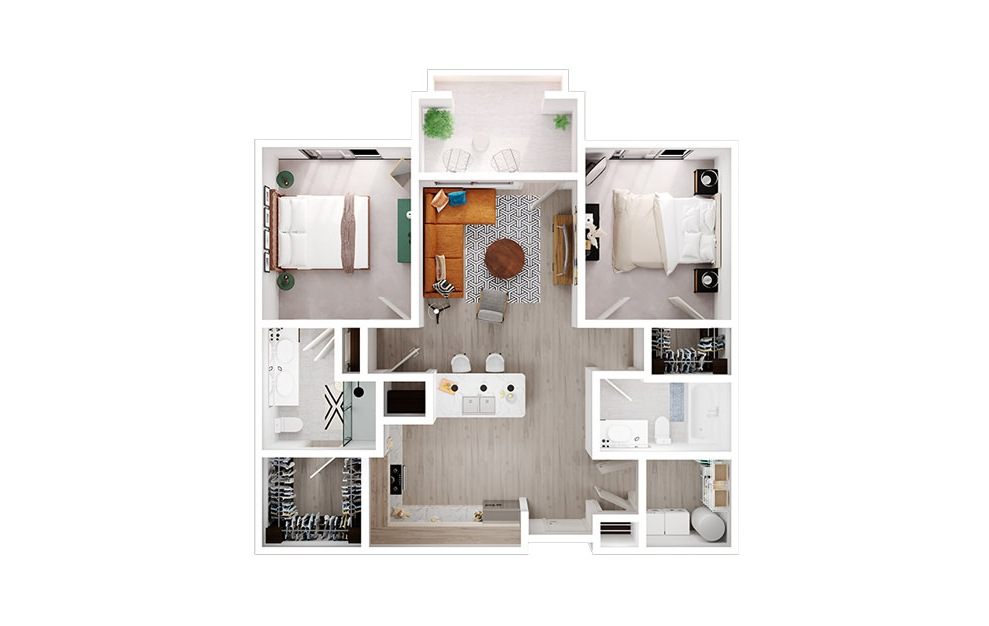 B1 - 2 bedroom floorplan layout with 2 baths and 1044 square feet. (3D)
