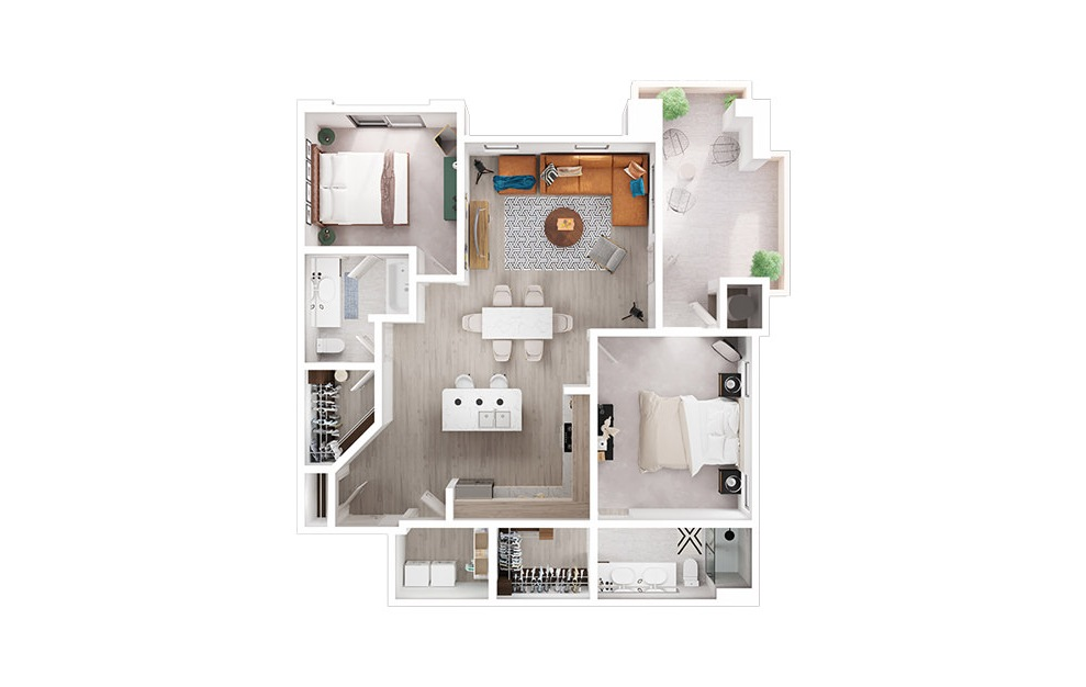 B2 - 2 bedroom floorplan layout with 2 baths and 1275 to 1292 square feet. (3D)