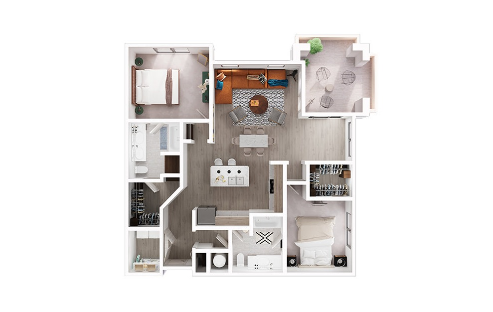 B3 - 2 bedroom floorplan layout with 2 baths and 1300 square feet. (3D)