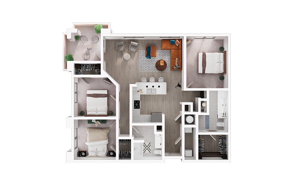 C1 - 3 bedroom floorplan layout with 2 baths and 1490 square feet. (3D)